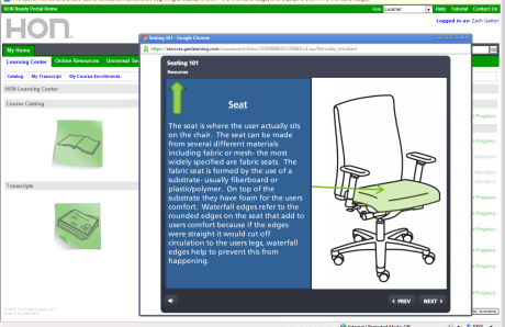 Check out our latest training- Seating 101. The Learning Center allows you to learn more about HON's products and programs without having to leave the house.