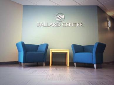 Installation by Union Office Interiors and Dingo Capital Advisors in the reception of the Ballard Center in Augusta, Maine.