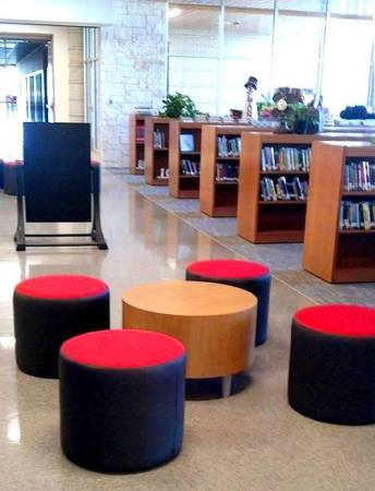 Installed by Perry Office Plus, Two-tone fabric Flock mini ottomans at North Belton Middle School.
