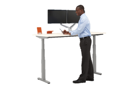 Wear appropriate footwear when utilizing a height adjustable desk