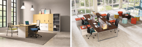 HON's Concinnity desk and storage is customizable