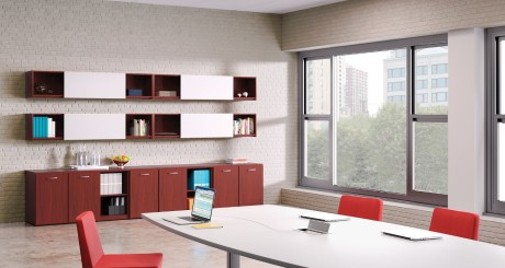 New storage options and build-your-own credenzas allow users to create just the right space